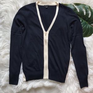 Ann Taylor   Navy and White Zipper Cardigan